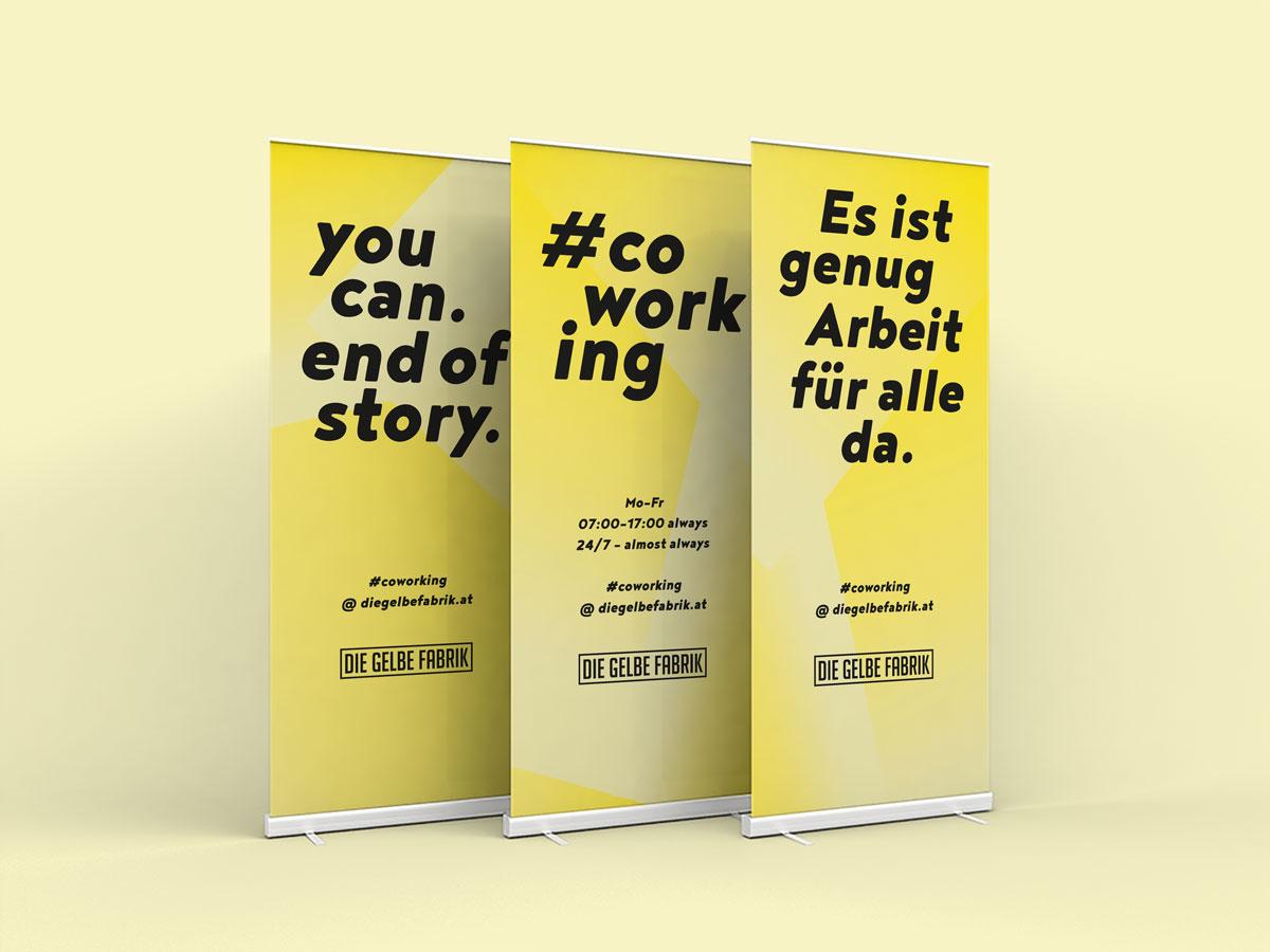 Rollup Serie für die Gelbe Fabrik Dornbirn von Simone Angerer.