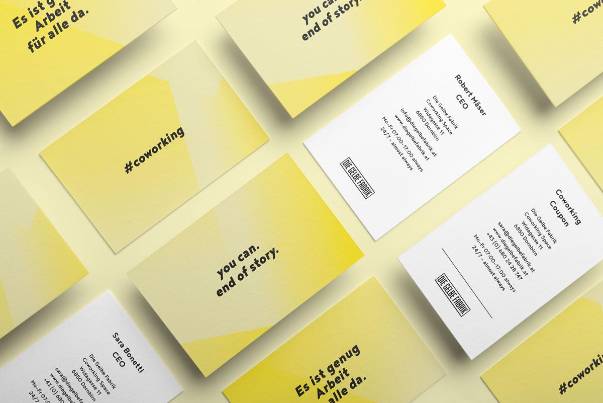 Die Gelbe Fabrik Coworking Dornbirn Visienkarten von Simone Angerer.
