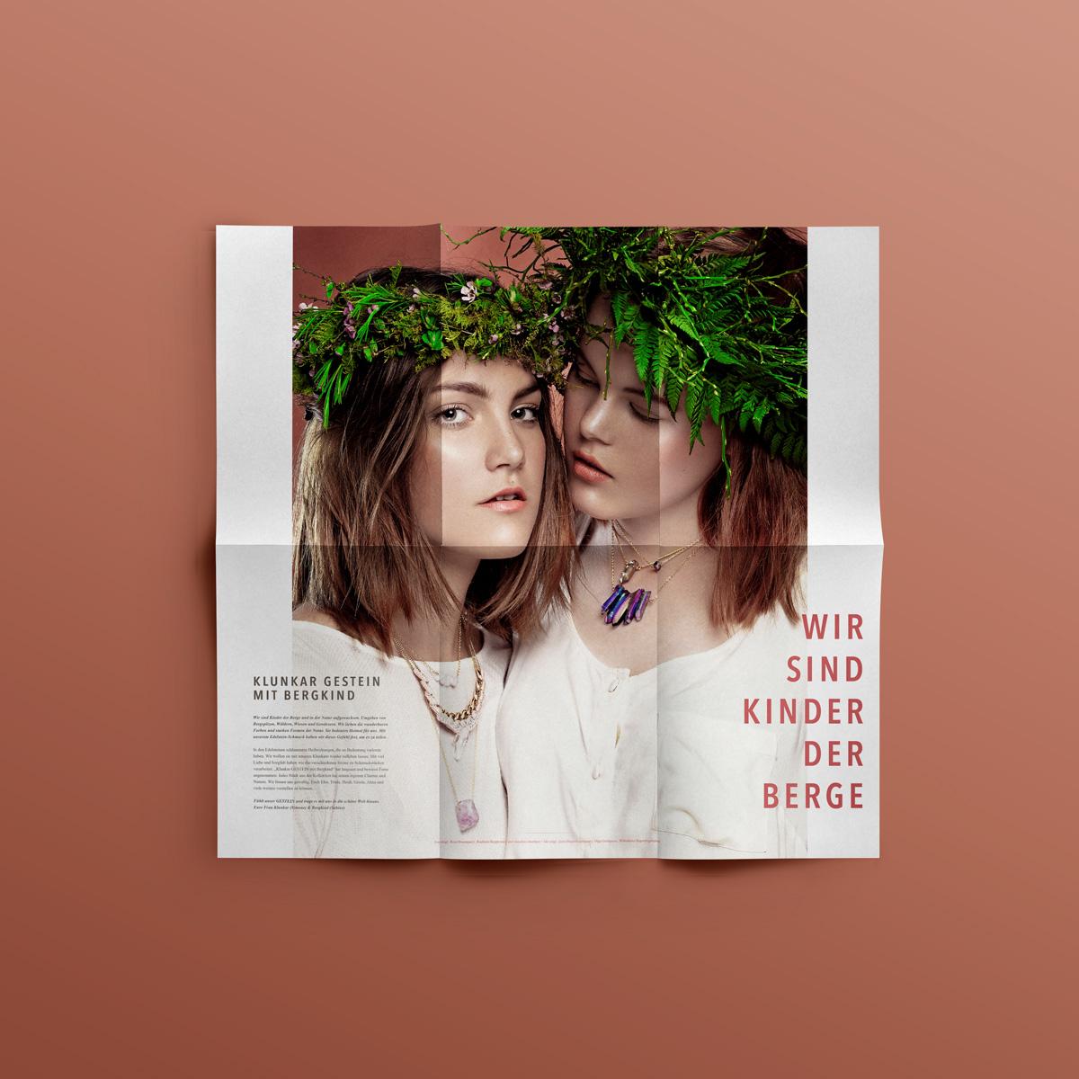 Klunkar Gestein mit Bergkind. Folderdesign von Sabine Schwald.