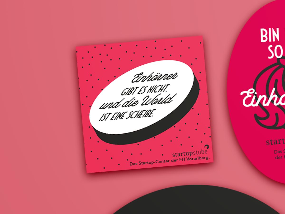 Einhörner gibt es nicht. Sticker / Aufkleber Serie für dei Startupstube der Fachhochschule Vorarlberg von Simone Angerer.