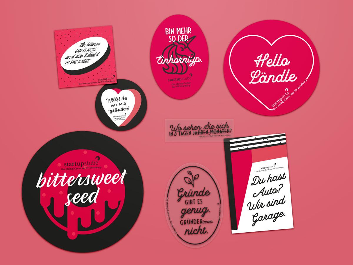 Sticker / Aufkleber Serie für dei Startupstube der Fachhochschule Vorarlberg von Simone Angerer.