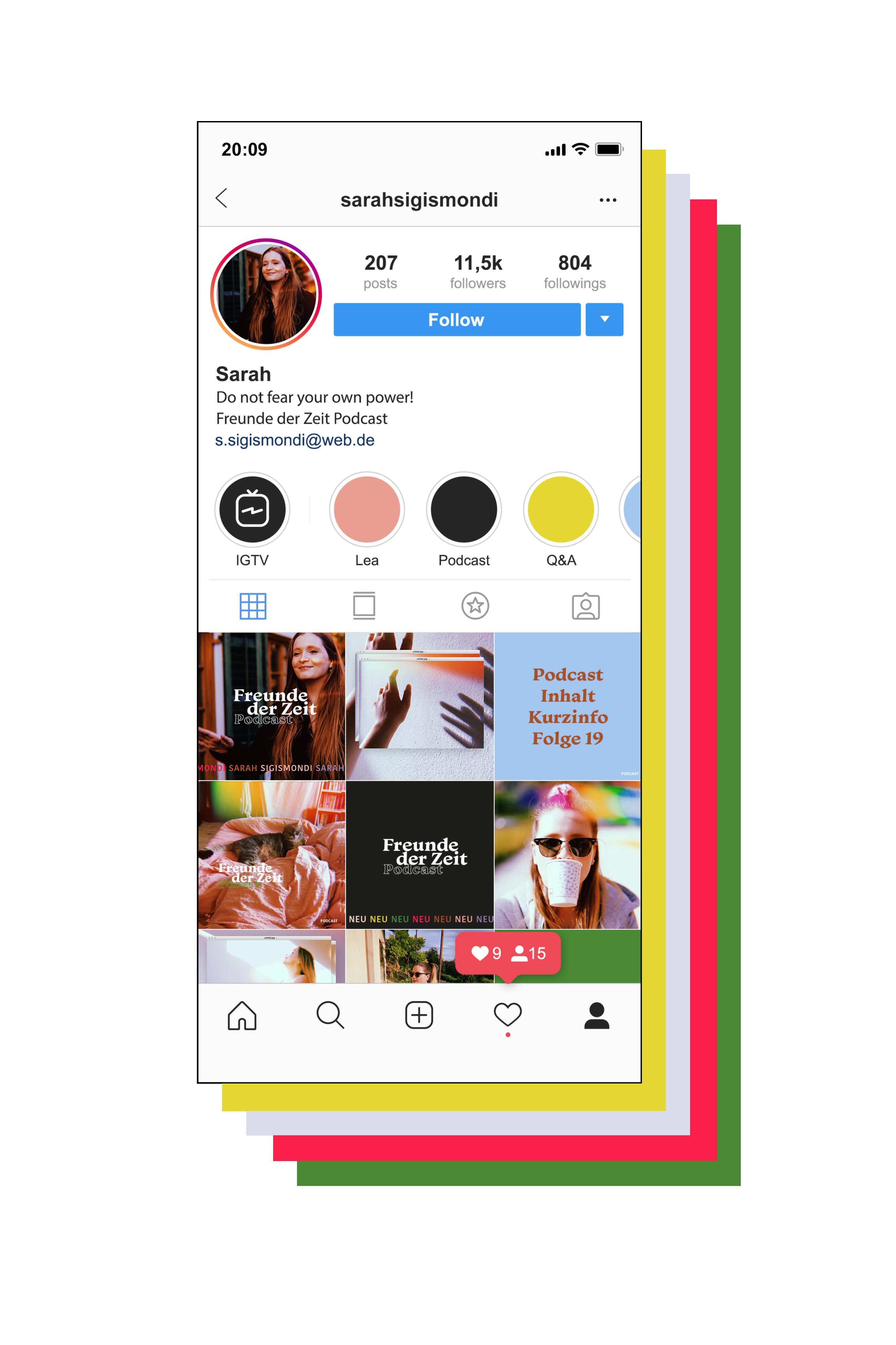 Freunde der Zeit Podcast von Sarah Sigismondi. Grafikdesign für Instagram und Podcast von Simone Angerer.