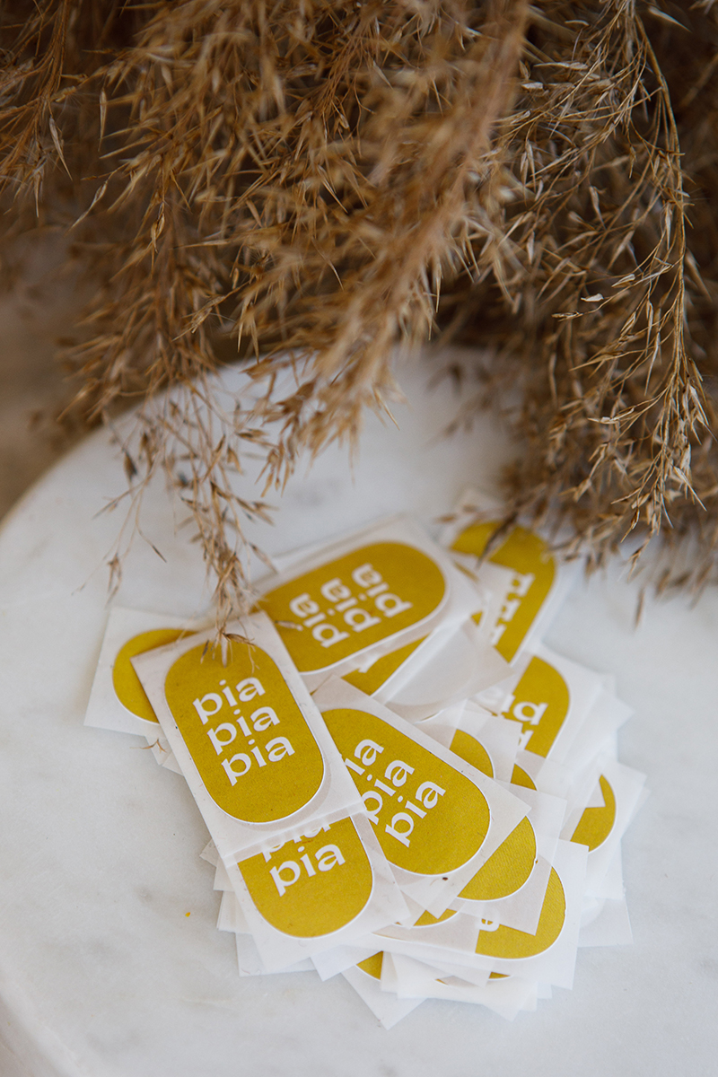 Pia Pia Pia Berchtold Sticker mit Logo. Grafikdesign von Simone Angerer. Foto von Nina Bröll.