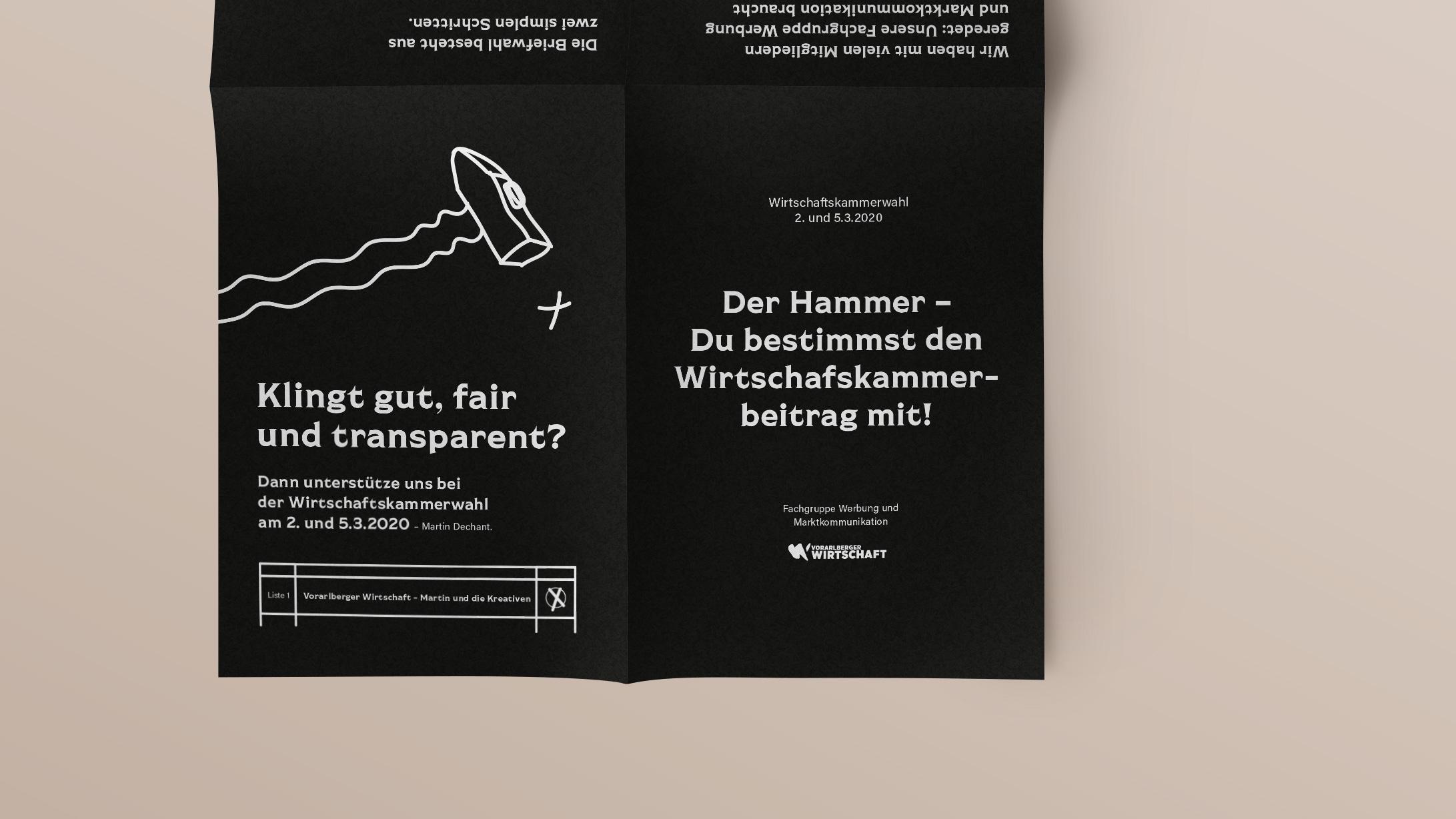 Vorschlaghammer. A3 Faltblatt für Martin und die Kreativen. Illustration und Grafikdesign von Simone Angerer.