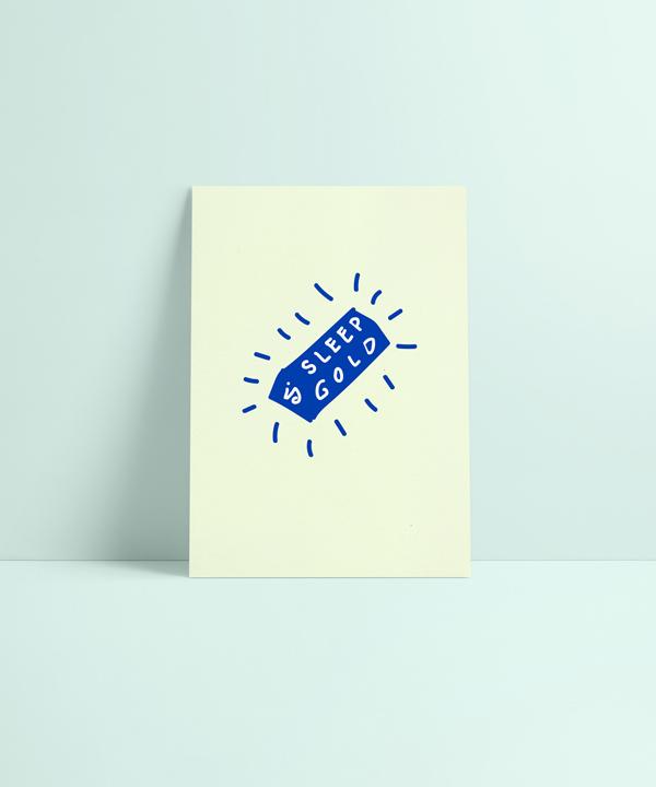 Sleep is Gold Illustration auf Siebdruck Karte für Klunkar von Simone Angerer.