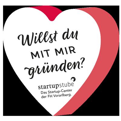 Willst du mit mir Gründen? Sticker / Aufkleber Serie für dei Startupstube der Fachhochschule Vorarlberg von Simone Angerer.