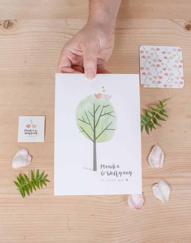 Hochzeits Papeterie Vögel und Bäume von Simone Angerer.